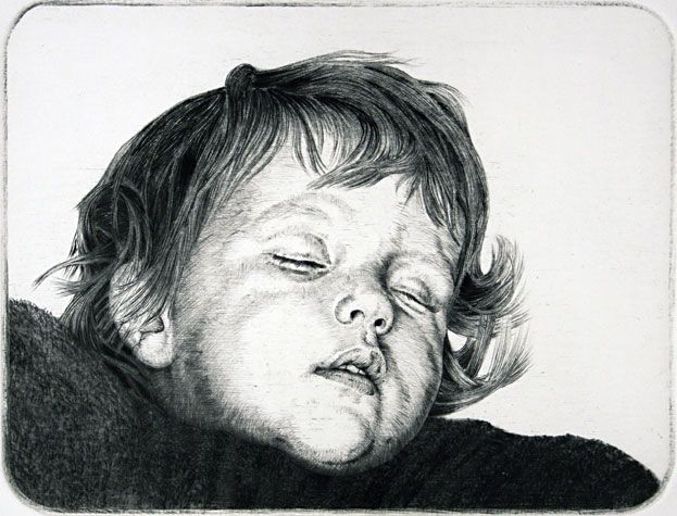 Arne Bendik Sjur. Anna - Lina, 1996. Drypoint. Edition of 20. 4 x 5 inches.