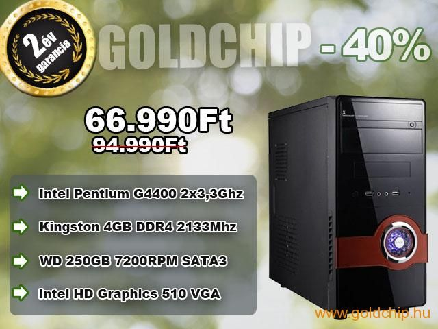 Új 6. Generációs Intel G4400 2x3,3Ghz CPU - 4GB DDR4 RAM PC  http://www.goldchip.hu/Uj-6-Generacios-Intel-G4400-2x3-3Ghz-CPU-4GB-DDR4-RAM-PC-d10431.htm