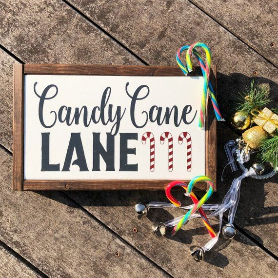 Candy Cane Lane Framed Christmas Sign Christmas signs
