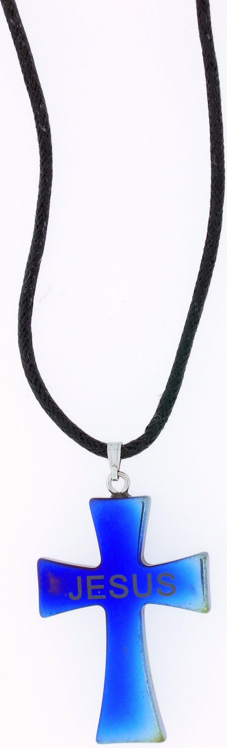 Blue Hematine Malta Cross-Laser 'Jesus', Necklace