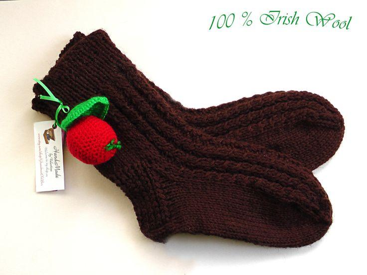 Hand knit wool brown socks, Brown socks, Wool home socks,Women socks,Men socks, Irish wool socks, Handmade socks, Countryside socks by GrandmasOldBox on Etsy