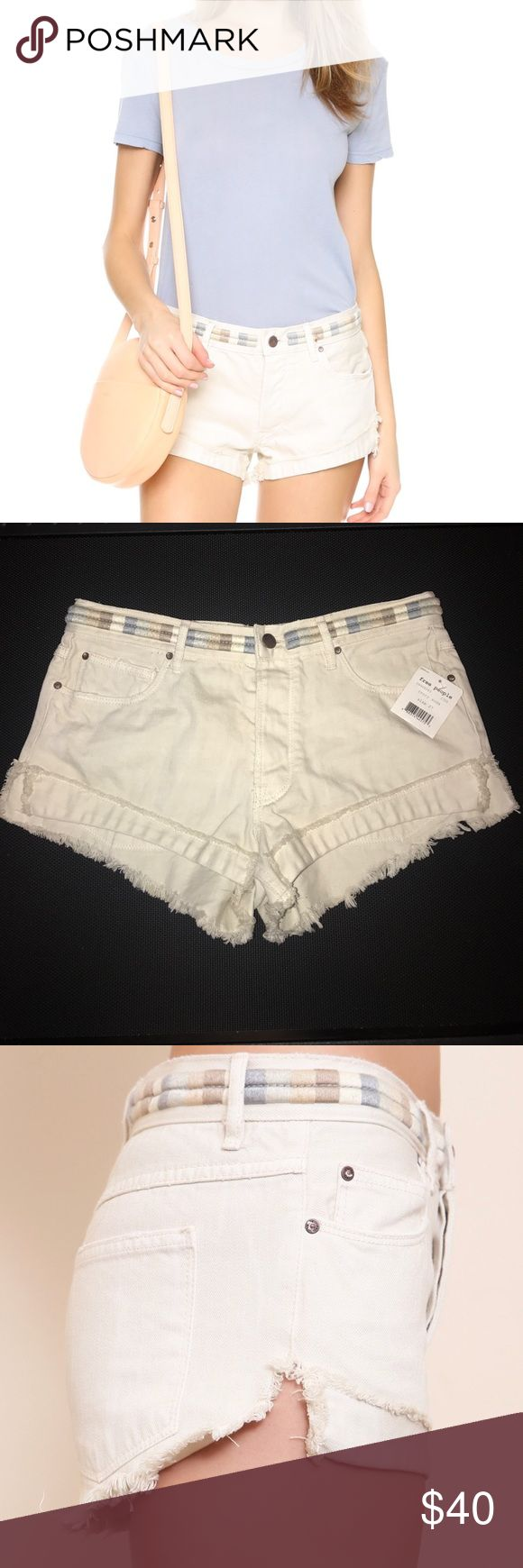 """NEW LISTING - FREE PEOPLE EMBROIDERED DENIM SHORTS FREE PEOPLE IVORY COTTON DENIM SHORTS    Waist Across: 16 1/2"""" - Inseam: 2"""" - Rise: 10"""" - Hips Across: 18"""". Flat Front - Patch Pockets - 100% Cotton - Denim Smoke free household Free People Shorts Jean Shorts"""