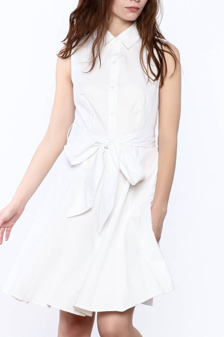 White sleeveless button-down shirtdress with basic collar. Knee length dress with waist tie detail.   White Button-Down Dress by Soprano. Clothing - Dresses - Casual Clothing - Dresses - Knee California