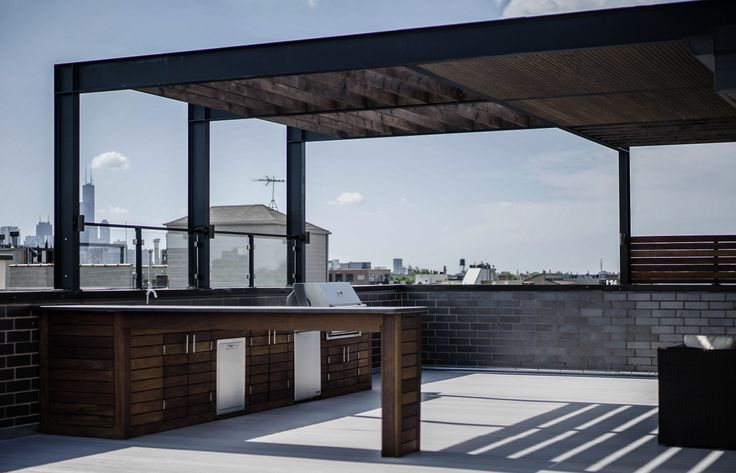 Stunning Steel Pergola/Veranda hybrid in Bucktown spans the majority of the top floor roof deck