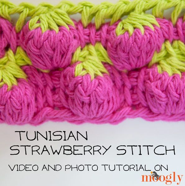 The Tunisian Strawberry Stitch is the stitch of the day! The origins of this stitch pattern are uncertain, but I've come up with a video and photo tutorial!