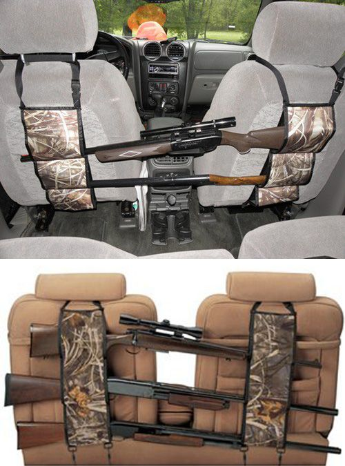 Check out this camouflage seat back gun rack - it  effortlessly hang across the seat back in SUV's or pickup trucks. Perhaps a good Father's Day gift idea for dads that like to hunt!
