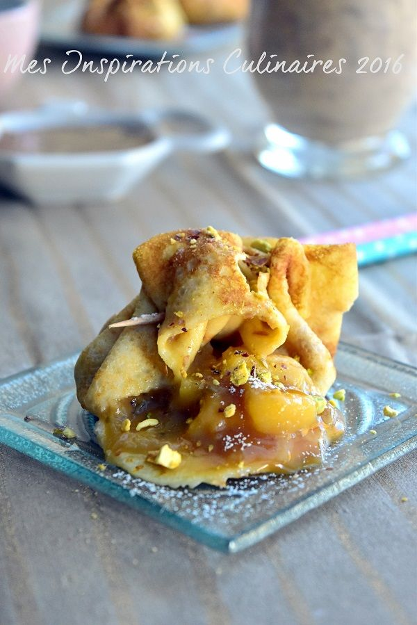 Crêpes en Aumônière aux pommes caramel beurre salé
