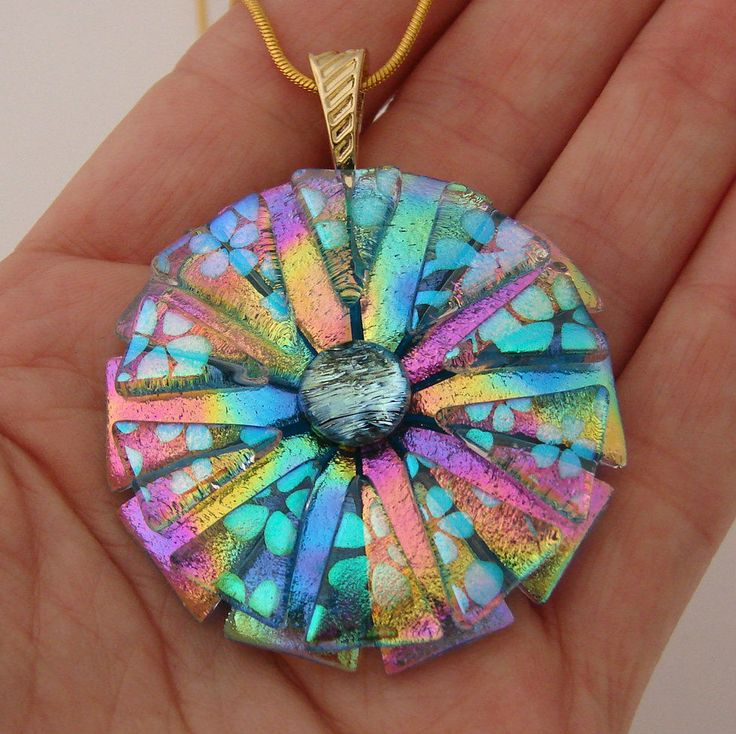 Handmade Dichroic Glass Pendant includes necklace * Round Picasso Style  *