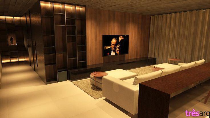 [projeto em desenvolvimento] conjunto de painéis, portas, estante e armários nessa sala de TV: unidade é fundamental.  #tresarquitetura #interiordesign #achitecture #arquitetura #design #homestyle #decor #instadecor #instaarchitecture #instanew #render #home #homedecor #homedecoration #instagood #instacool #brazil #brasil #modern #brasilia #luxury #livingroom