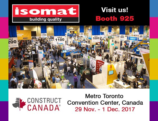 """ISOMAT, in cooperation with its authorized dealer in Canada, Akrobond, will participate in the international construction exhibition """"Construct Canada"""", which will take place at the Metro Toronto Convention Center, in Toronto, Canada, from 29 November to 1 December 2017."""