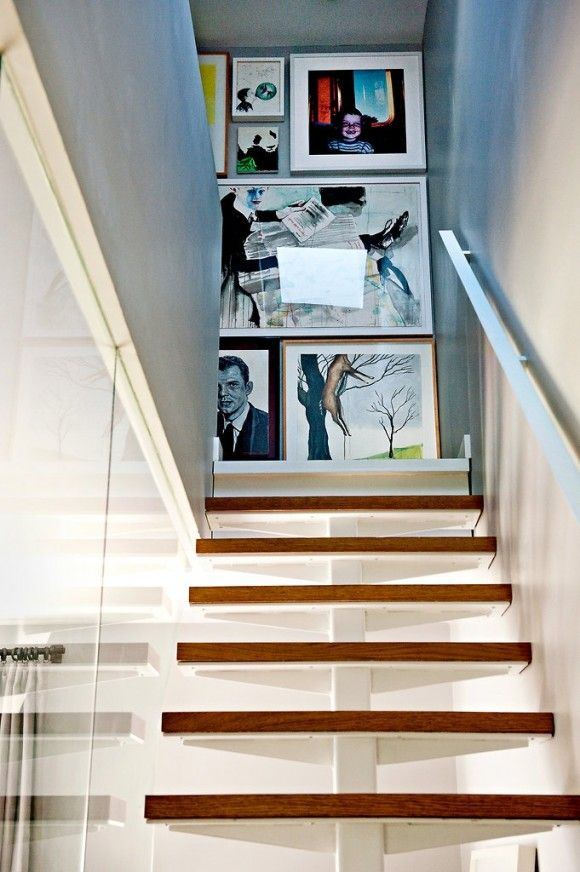 Great stairs & gallery wall