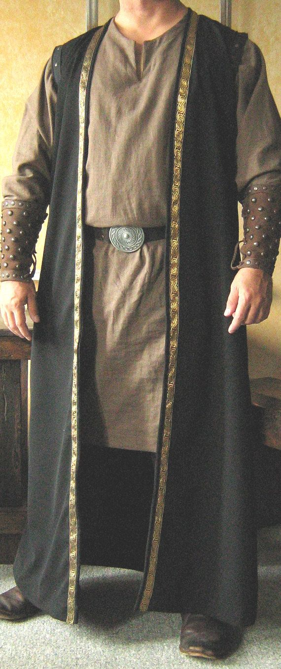 Handsome Celtic Lords Vest, Black with gold trim, Larp, Renaissance, Cosplay, Steampunk, Custome