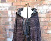 SALE Upcycled hoodie. Brown/multi coloured hoody. Cardigan, coat, coatigan.