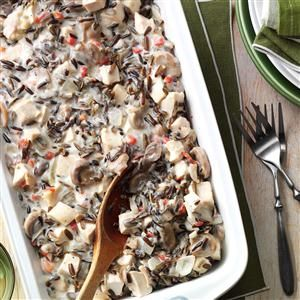 Contest-Winning Chicken Wild Rice Casserole.  Used pheasant, didn't bake or use almonds.  Add LOTS of garlic.
