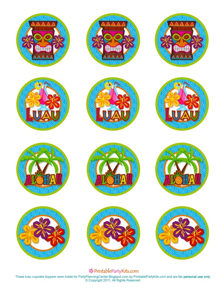 Please scroll down and click on the free printable Hawaiian luau cupcake toppers template further down on the page. That will allow you to ...