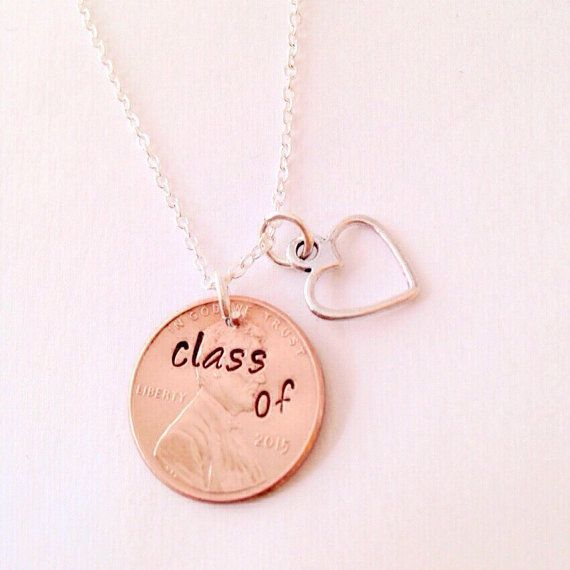 Hand Stamepd Graduation Penny Necklace Class of by UniquelyImprint
