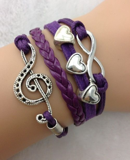 Purple band musical note, floating hearts & infinity charm bracelet, Shop at http://costwe.com/anchor-leather-bracelets-c-65_102.html