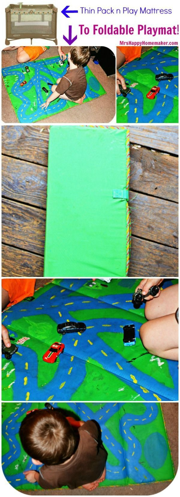 Recycle an old pack & play mattress into a foldable racetrack playmat for your kids! If you don't already have one, you can find old pack n plays at thrift stores & yard sales for super cheap. This is a GREAT idea and so easy too!