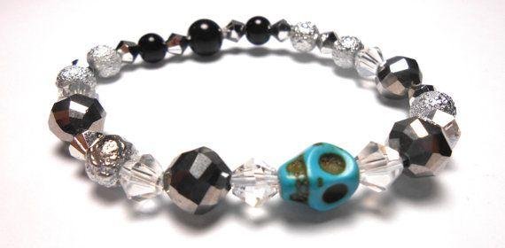 Turquoise Skull Stretch Plastic Bracelets  Arm by ShopJosette