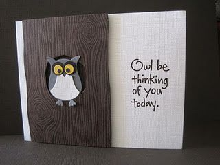 handmade greeting card ... wood grain embossed faux tree trunk ... two step owl punch bird in his hole ... great coordinating sentiment ... Stampin' Up!
