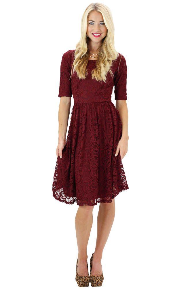 Modest Dresses: Samantha Lace Dress in Burgundy