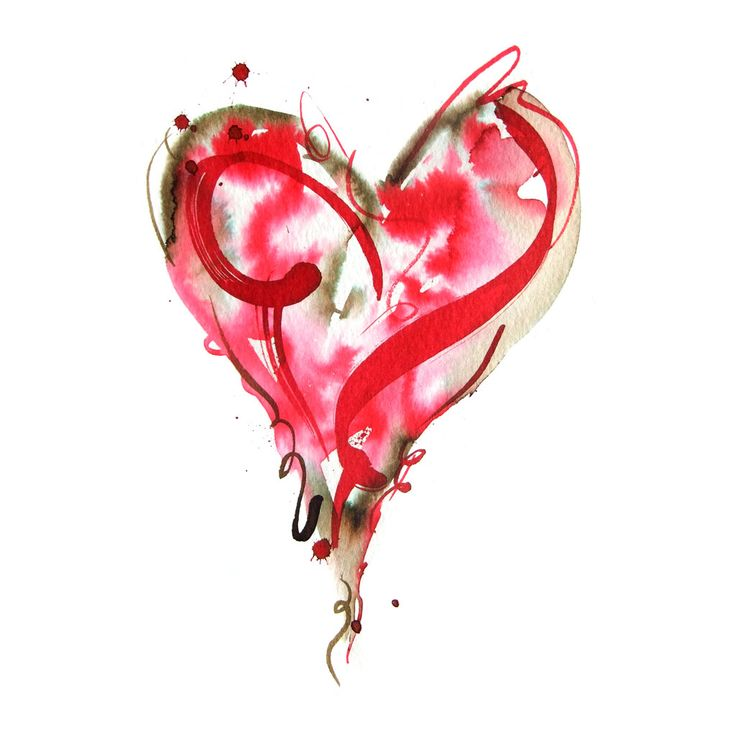 heart. watercolor. red.
