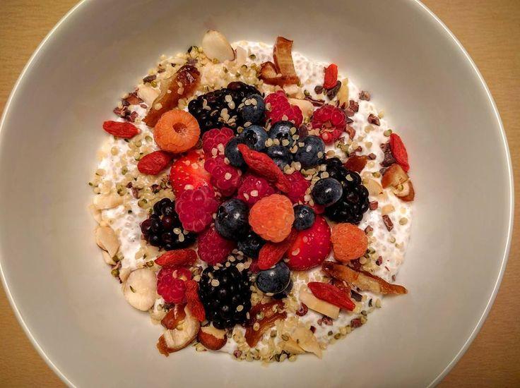 New breakfast item! Organic Chia Bowl with Coconut Milk Dates Nuts Goji and Fresh Berries  #healthybreakfast #organic #soho #energico #mercerkitchen