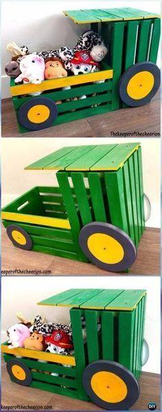 DIY Holzkiste Traktor Spielzeugkiste Anweisungen – DIY Holzkiste Möbel Ideen Pr…