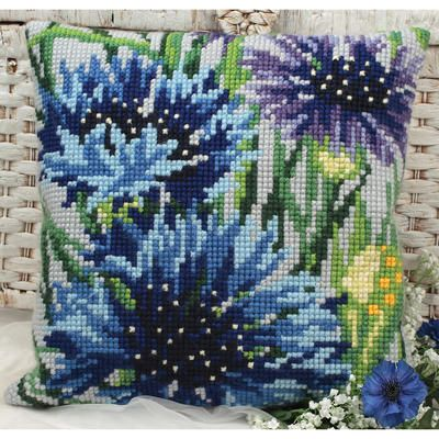 Stitch your own darling decorative throw pillow with this Blue Bells Bleuets…