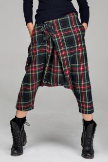 I like the length of the dropped crotch and the kilt styled leather closure on the crossed over front!