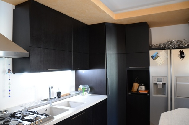 Custom kitchen. Cabinets and pantry column in durmast stained black open pore. Details: top like granite and LED lights under the wall unit.