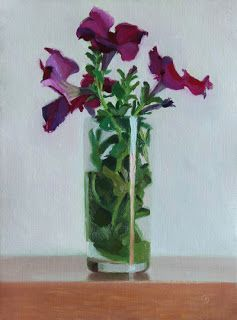 """Petunias in a Tumbler by Charmaine P Jackson Oil on 8""""x6"""" linen"""