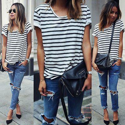 2016 New Summer Style O Neck Women Tops Striped Short Sleeve Female T-Shirts Batwing Loose Chiffon Shirt