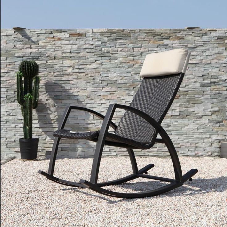 grand patio brown rattan rocking chair with breathable headrest brown size single
