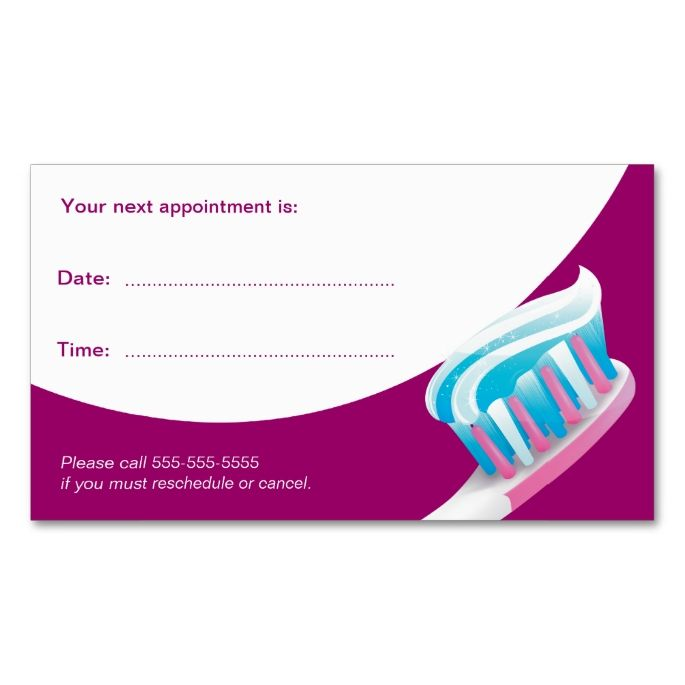 2017 best Dental Dentist Business Cards images on Pinterest - sample appointment card template