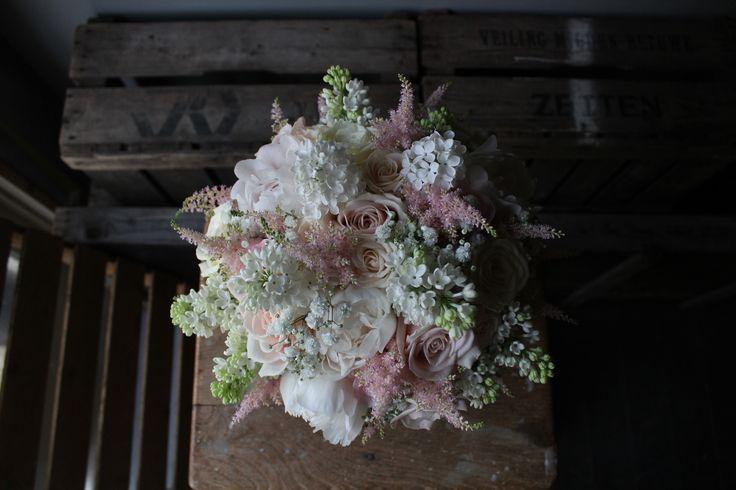 Bridal Bouquet of soft pinks and white.  www.theflowermilldraycott.co.uk