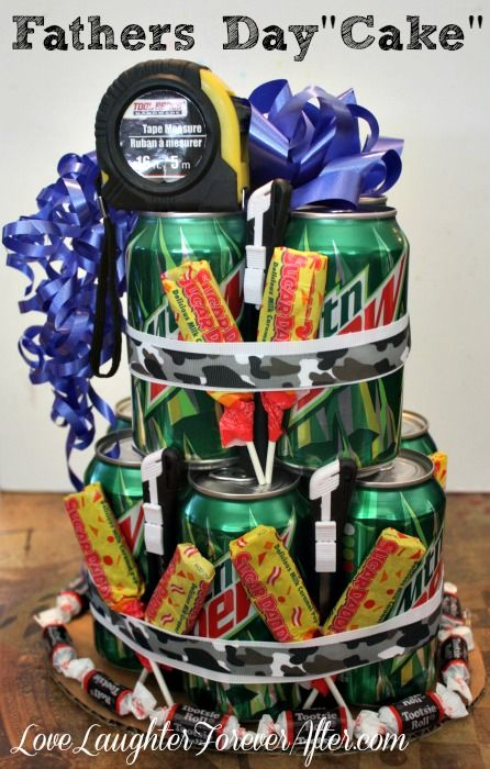 Super cool Father's day present. Check out this Soda Can Cake Fathers Day Craft
