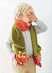 Вязаный спицами детский шарф с карманами