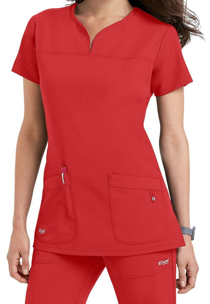 Scrubs and Beyond Greys Anatomy Signature Notch Neck 2 Pocket Scrub Tops In Poppy size Small