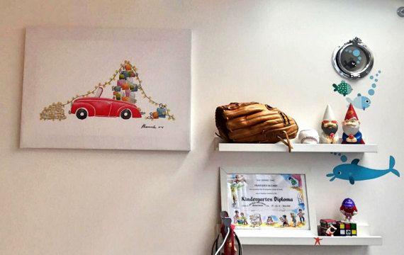 Gift Red Car di EmadecaroArts su Etsy #illustration #characterdesign
