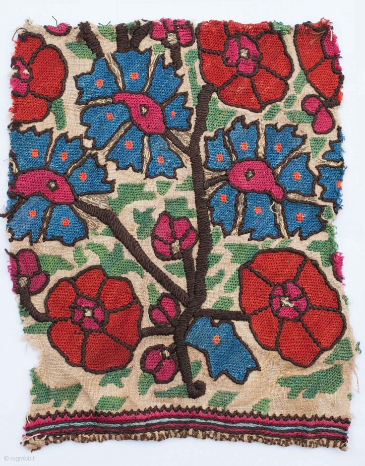 Ottoman Embroidery Fragment 20 x 17 cm