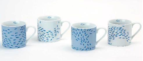 set 4 mug in porcellana con decorazioni banc de poisson