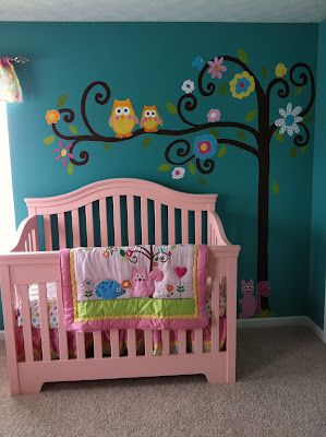 Dena Happi Tree Painted Mural - Owls and other woodland characters.
