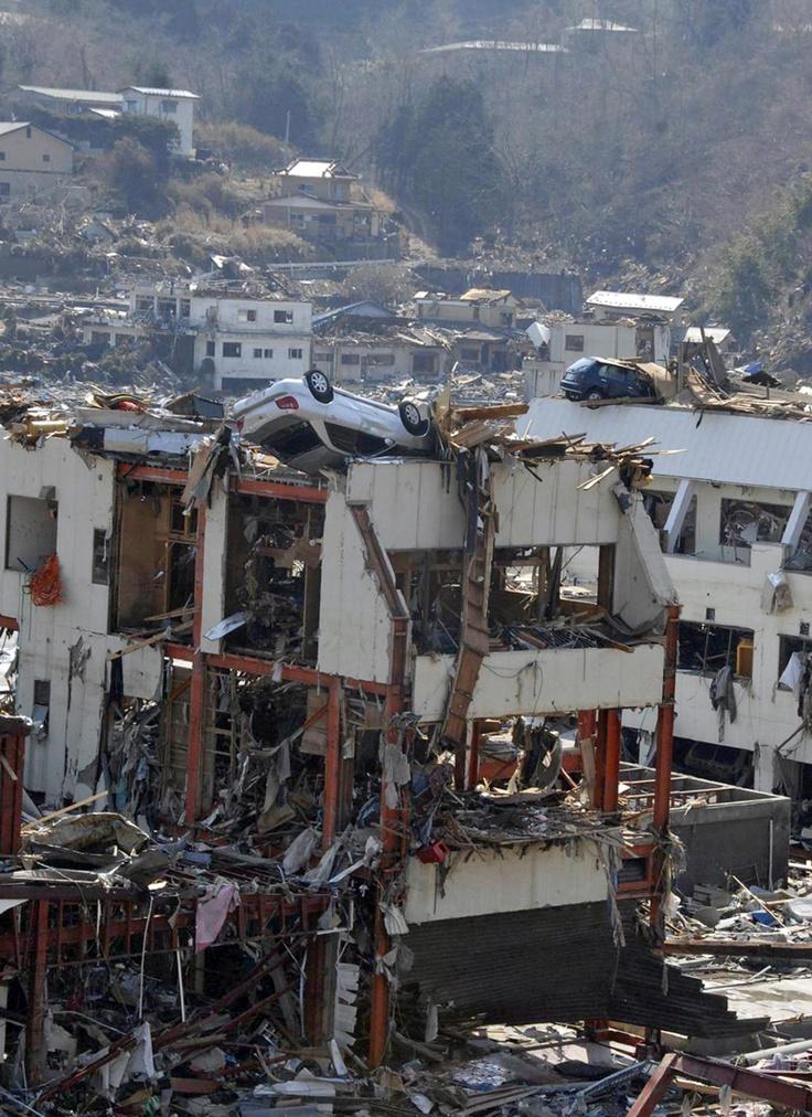 The aftermath of the 2011 Tōhoku earthquake and tsunami, Japan.