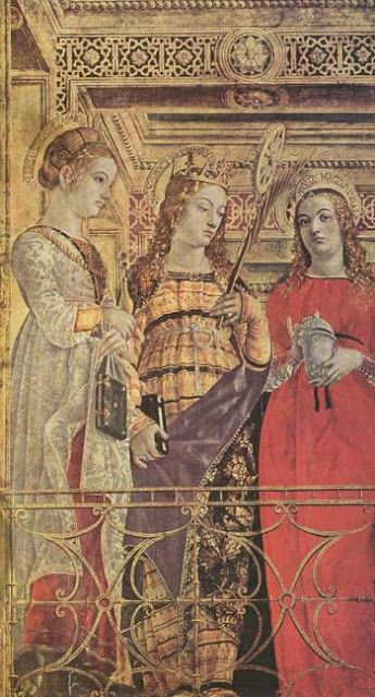 Bernardino Butinone and Bernardo Zenale.  Bona of Savoy (centre) as Saint Catherine of Alexandria next to her sisters-in-law Ippolita Maria Sforza (left) as Saint Lucia and Elisabetta Maria Sforza (right) as Saint Mary Magdalene (detail from polyptych of St. Martin), tempera on wood, ca. 1485