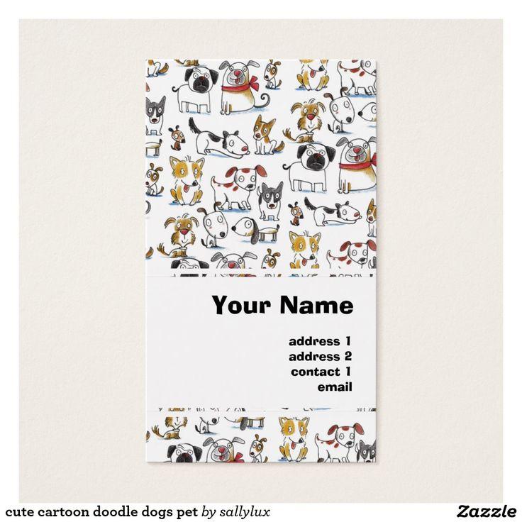 cute cartoon doodle dogs pet business card
