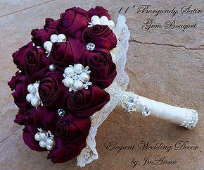 Satin Burgundy Bridal Brooch Bouquet Custom Made Bridal Brooch Bouquet Wedding – Glam Bouquet #BurgundyWeddingIdeas