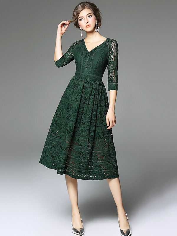 Green V neckline Hollow Out Lace Dress