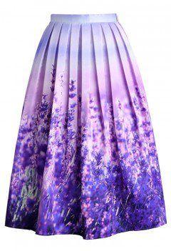 Endless Lavender Romance Pleated Midi Skirt - Retro, Indie and Unique Fashion