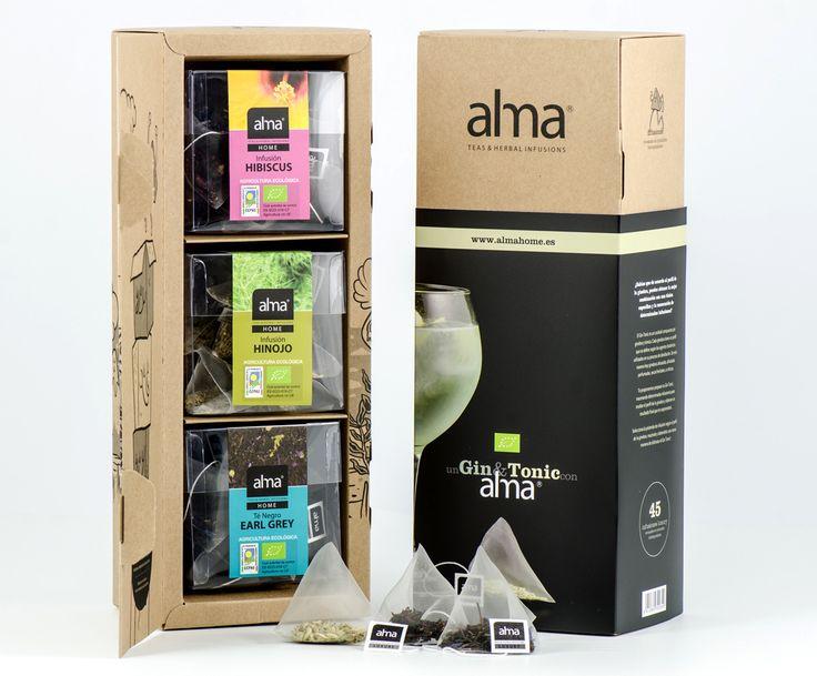 Дизайнер Roger Cortés создал дизайн упаковки длятравяных настоев Alma Gin&Tonic Herbal Infusions, одной изведущих чайных компаний Испании. Основной целью разработки упаковки Alma Gin&Tonic Herbal Infusions было создание «нейтральной» комбинированной упаковки. Врезультате получилась симпатичная упаковка— коробка изкрафт бумаги илитонкого картона, которая вставляется вобечайку избумаги сполноцветной печатью. Конструкция коробки самосборная соткидной крышкой, настенки коробки…